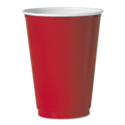 Party Plastic Cold Drink Cups, 12 oz, Red, 50/Pack