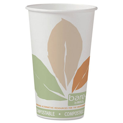 Bare PLA Hot Cups, White w/Leaf Design, 16 oz, 1000/Carton