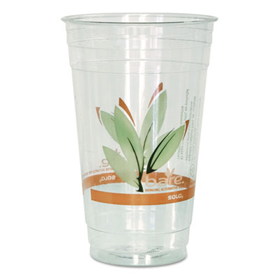 Bare RPET Cold Cups, Leaf Design, 24 oz, 50/Pack, 12 Packs/Carto