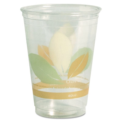 Bare RPET Cold Cups, 9oz, Clear With Leaf Design, 50/Bag, 20 Bag