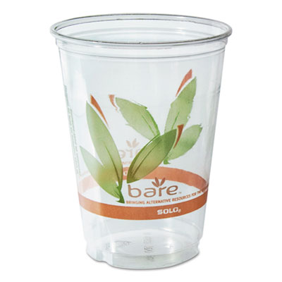 Bare RPET Cold Cups, Leaf Design, 10 oz, 50/Pack, 20 Packs/Carto