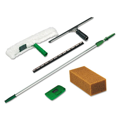 Pro Window Cleaning Kit w/8ft Pole, Scrubber, Squeegee, Scraper,