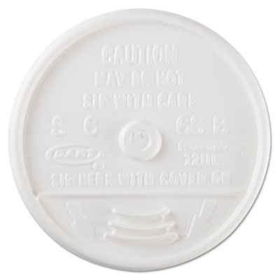 Sip-Through Lids For 10, 12, 14 oz Foam Cups, Plastic, White, 10