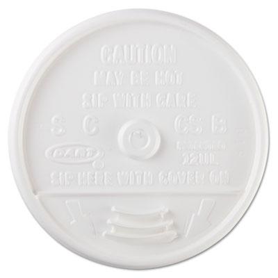 Sip-Through Lids For 10, 12, 14 oz Foam Cups, Plastic, White, 10