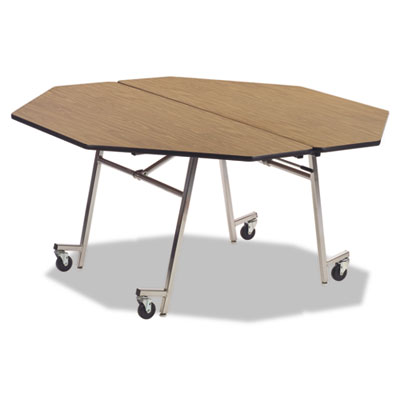 Folding Mobile Shape Table, Octagonal, 60 dia. x 29h, Medium Oak