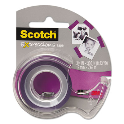 """Expressions Magic Tape with Dispenser, 3/4"""" x 300"""", Purple"""