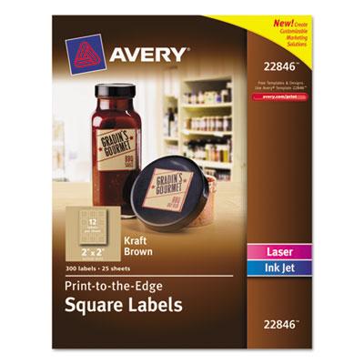 Square Print-to-the-Edge Labels w/TrueBlock, 2 x 2, Kraft Brown,