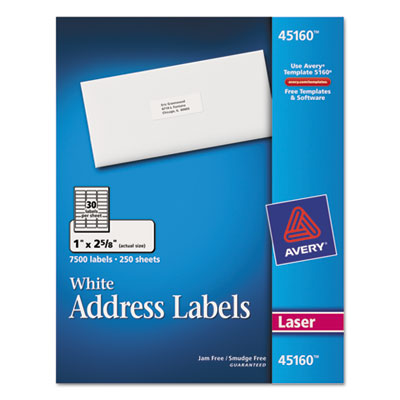 Address Labels, 1 x 2-5/8, White, 7500/Box