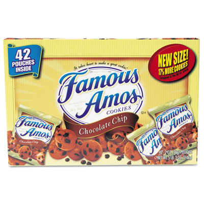 Famous Amos Cookies, Chocolate Chip, 2 oz Snack Pack, 42 Packs/C