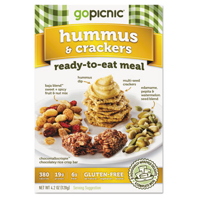 Ready-To-Eat-Meals, Hummus + Crackers, 4.4oz, 6/Carton