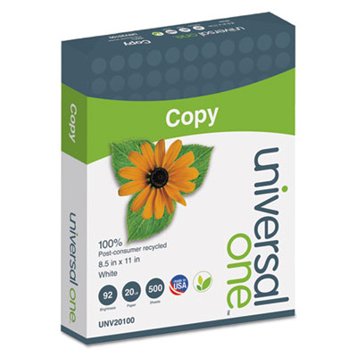 100% Recycled Copy Paper, 92 Brightness, 20lb, 8-1/2 x 11, White