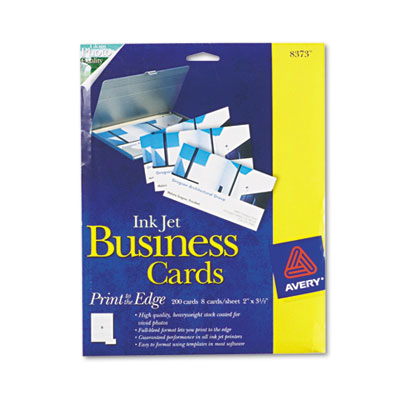 Print-to-the-Edge 2-Sided Business Cards, Inkjet, 2 x 3-1/2, Wht