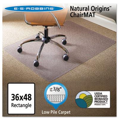 Natural Origins Chair Mat For Carpet, 36 x 48, Clear