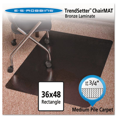 Bronze 48x36 Rectangle Chair Mat, Design Series for Carpet up to