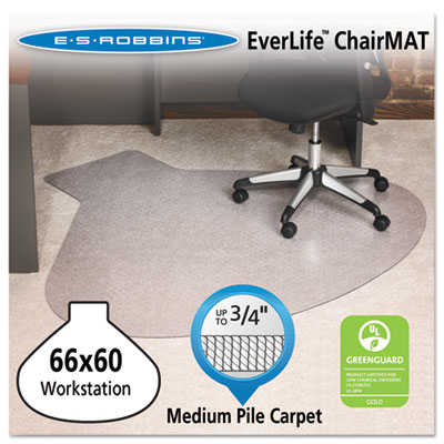 EverLife Chair Mats For Medium Pile Carpet, L-Workstation w/Lip,