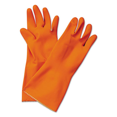 Flock-Lined Latex Cleaning Gloves, Medium, Orange, 12 Pairs