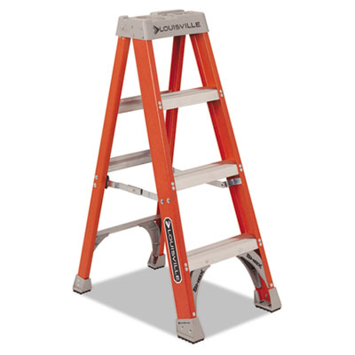 "Fiberglass Heavy Duty Step Ladder, 50"", Orange, 3 Steps"