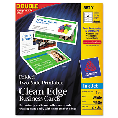 Folded Two-Sided Clean Edge Business Cards, Inkjet, 2 x 3-1/2, W