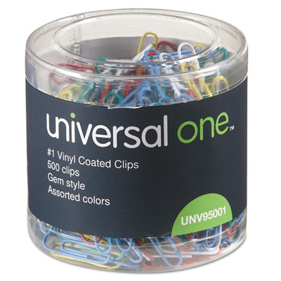 Paper Clips, Vinyl Coated Wire, No. 1, Assorted Colors, 500/Pack