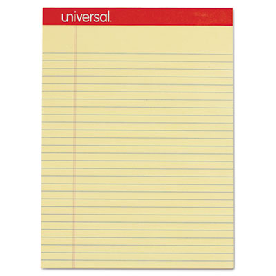 Perforated Edge Writing Pad, Legal/Margin Rule, Letter, Canary, 50 Sheet, Dozen<br />91-UNV-10630
