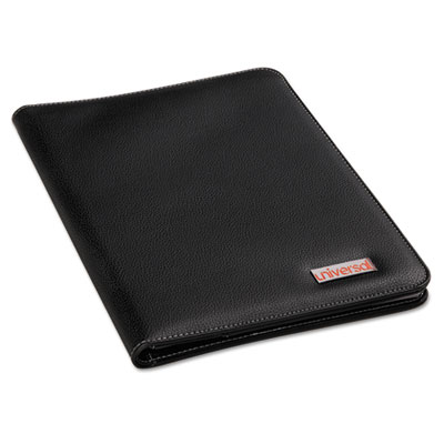 Leather-Look Pad Folio, Inside Flap Pocket w/Card Holder, Black