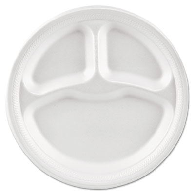 "Basix Foam Dinnerware, Plate, 9"" dia, 3 Compartment, White"