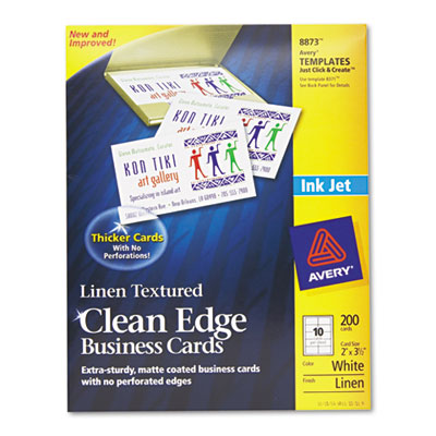 2-Side Printable Clean Edge Business Cards, Inkjet, 2 x 3-1/2, L