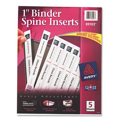 "Custom Binder Spine Inserts, 1"" Spine Width, 8 Inserts/Sheet, 5"