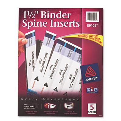 "Custom Binder Spine Inserts, 1-1/2"" Spine Width, 5 Inserts/Sheet"