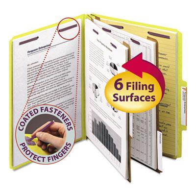 Pressboard Classification Folders, Letter, Six-Section, Yellow, 10/Box<br />91-SMD-14034
