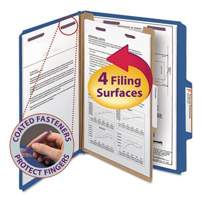 Pressboard Classification Folders, Letter, Four-Section, Dark Blue, 10/Box<br />91-SMD-13732