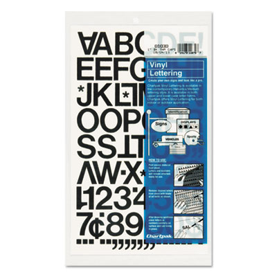"Press-On Vinyl Letters & Numbers, Self Adhesive, Black, 1""h, 88/"