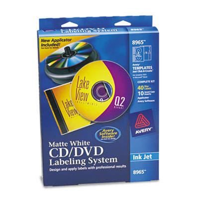 CD/DVD Design Kit, Matte White, 40 Inkjet Labels and 10 Inserts