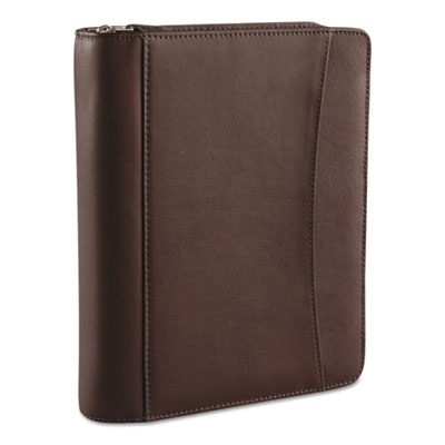 Aspen Leather Ring Bound Organizer, 8-1/8 x 10, Brown