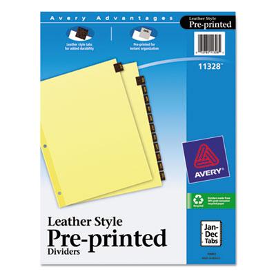 Clear Reinforced Preprinted Leather Tab Divider, 12-Tab, Jan-Dec