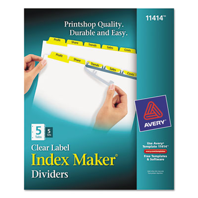 Index Maker Divider w/Color Tabs, Yellow 5-Tab, Letter, 5 Sets/P