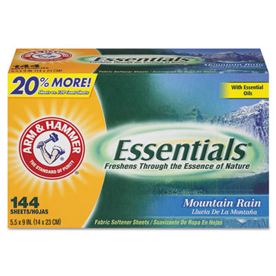 Essentials Dryer Sheets, Mountain Rain, 144 Sheets/Box, 6 Boxes/