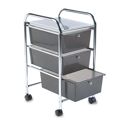 Portable Drawer Organizer, 15-1/2w x 13d x 27h, Smoke/Chrome