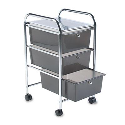 Portable Drawer Organizer, 15-1/2w x 13d x 27h, Smoke/Chrome