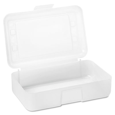 Gem Polypropylene Pencil Box with Lid, Clear, 8 1/2 x 5 1/2 x 2