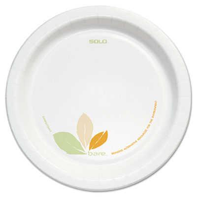 "Bare Clay-Coated Paper Dinnerware, Plate, 8.5"", Green/Tan, 125/P"
