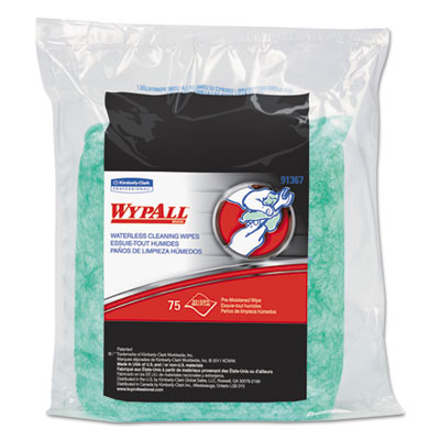 WYPALL Waterless Cleaning Wipes Refill Bags, 10 1/2 x 12 1/4, 75