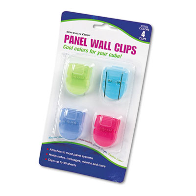 Fabric Panel Wall Clips, Standard Size, Assorted Cool Colors, 4/