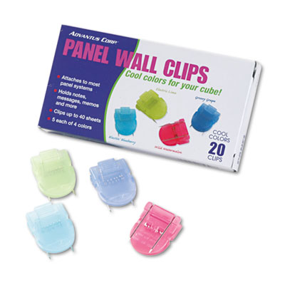 Fabric Panel Wall Clips, Standard Size, Assorted Cool Colors, 20