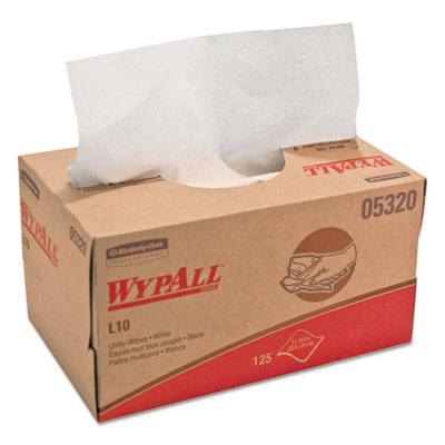 WYPALL L10 Utility Wipes, 9 x 10.5, POP-UP Box, White, 125/Box,