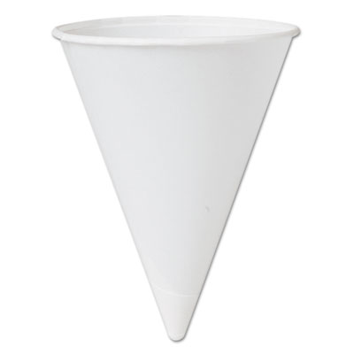 Bare Treated Paper Cone Water Cups, 4 1/4 oz., White, 200/Bag