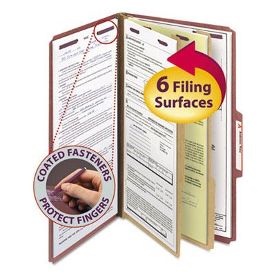 Pressboard Classification Folders w/ Self Tab, Legal, Six-Section, Red, 10/Box<br />91-SMD-19075