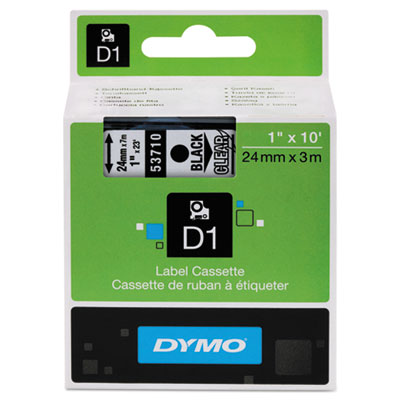 D1 Standard Tape Cartridge for Dymo Label Makers, 1in x 23ft, Black on Clear
