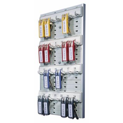 "Key Rack, 24-Tag Capacity, 8 3/8\"" x 1 3/8\"" x 14 1/8\"", Gray Plast"