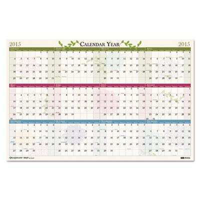 Floral Reversible/Erasable Wall Calendar, 24 x 37, 2015